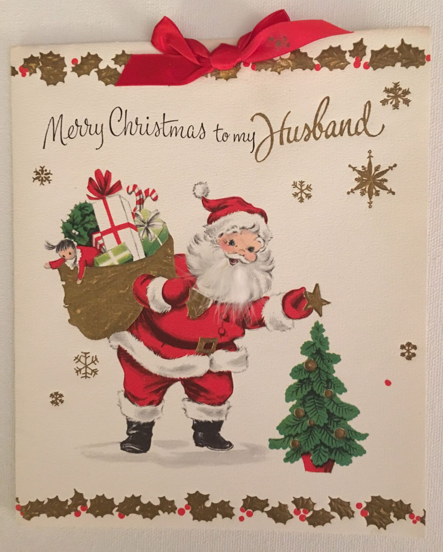Vintage Santa Claus And Tree Christmas Card
