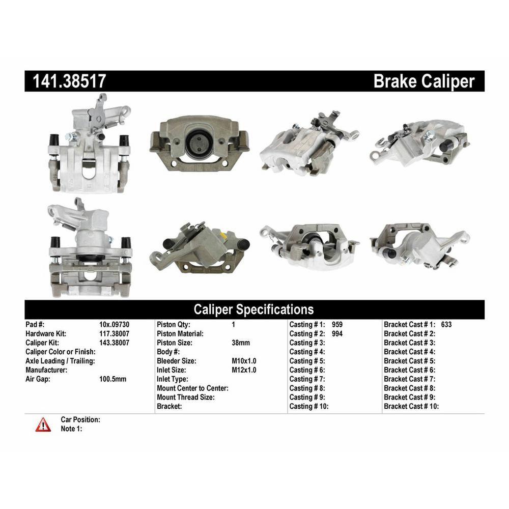 Centric Parts Disc Brake Caliper 2006-2007 Saab 9-3-141
