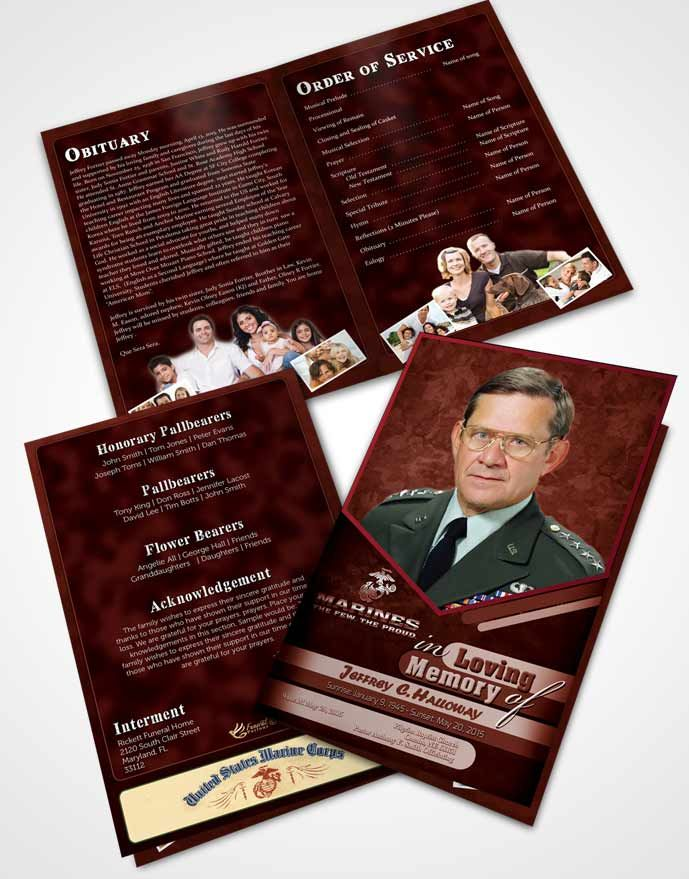 Bifold Order of Service Obituary Template Brochure 1st Marines The
