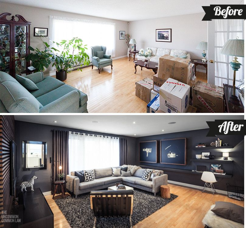 Modern Living Room Makeovers the uncommon law - the living room: before & after | before and