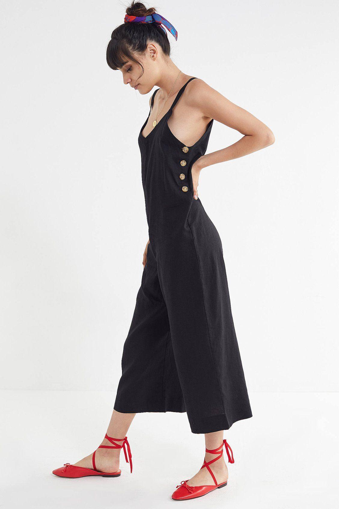 d63392bf61 UO Marta Linen Side-Button Jumpsuit