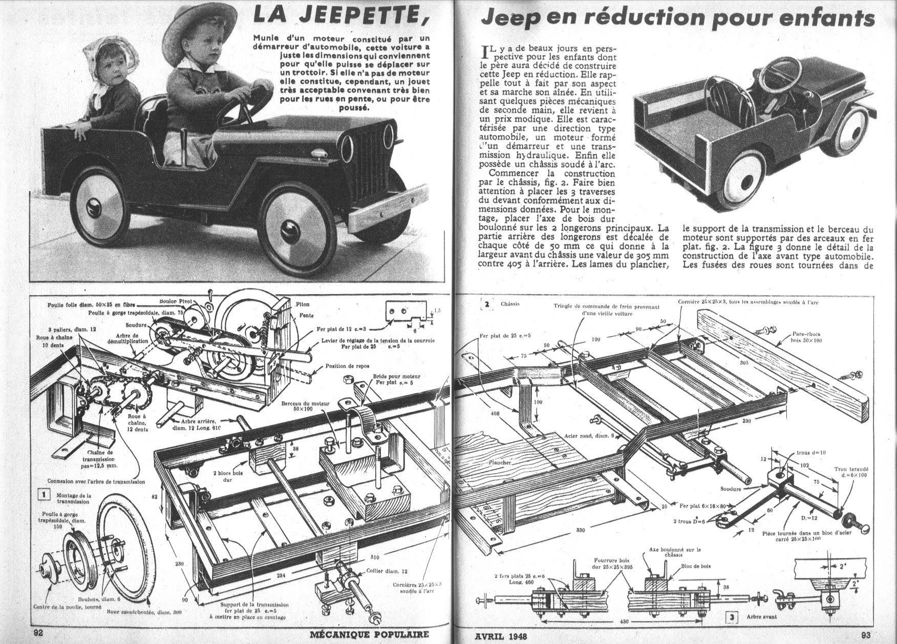 1948 Plans For An Electric Toy Car Diy Pedal Cars Rc