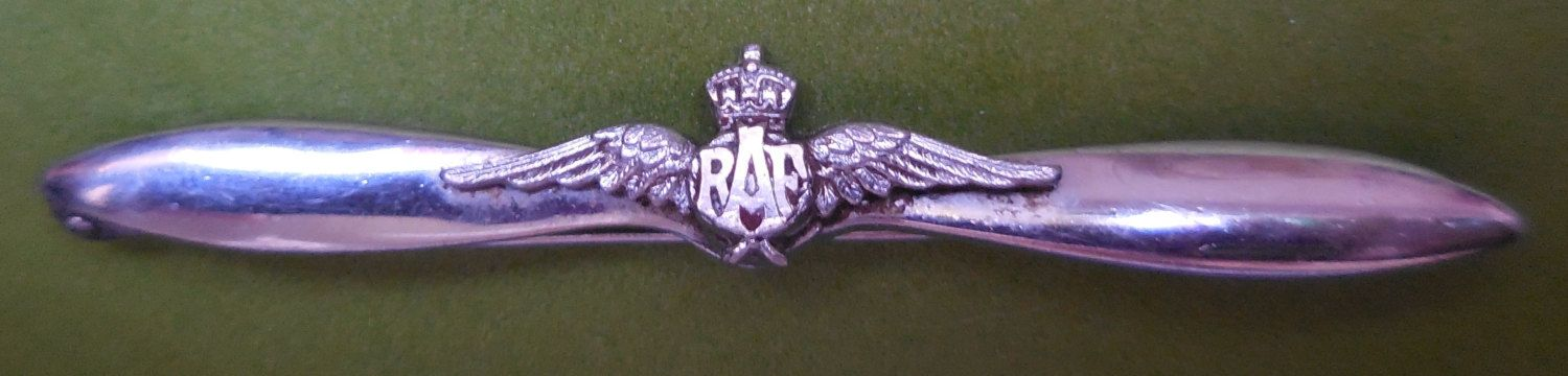 Stunning WWII era RAF chrome propeller Sweetheart BROOCH   1940s
