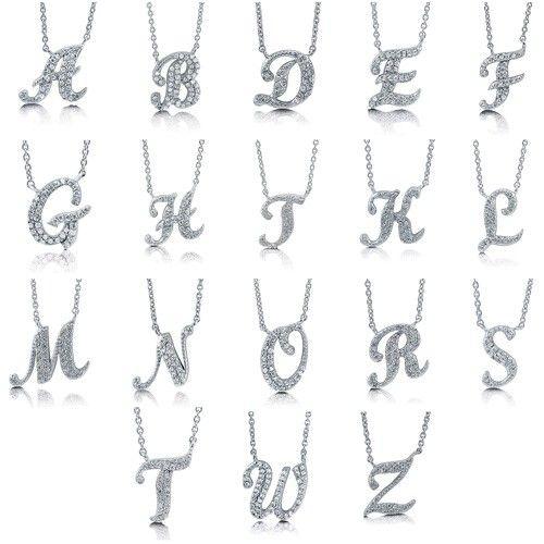 Sterling silver cz initial letter pendant letter pendants initial sterling silver cz initial letter pendant aloadofball Choice Image
