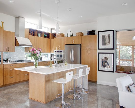 Kitchen With Beautiful Polished Concrete Floor.