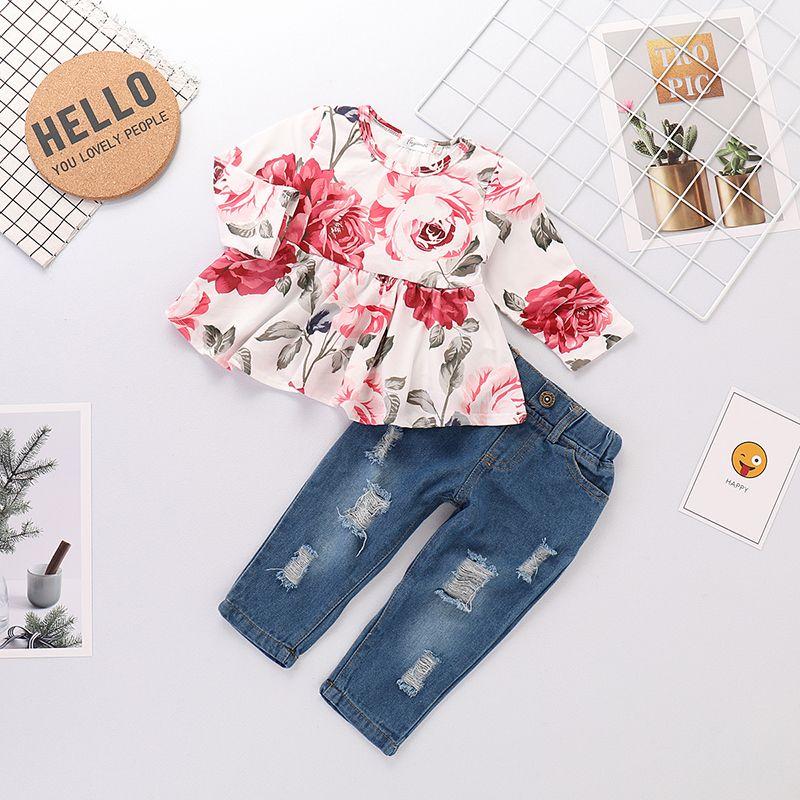 Toddler Infant Baby Girls Shirt Blouse Shirt Tops+Denim Longs Pants Outfits Set