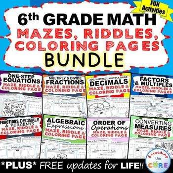 6th Grade Math Mazes Riddles Coloring Pages Fun Math Activities