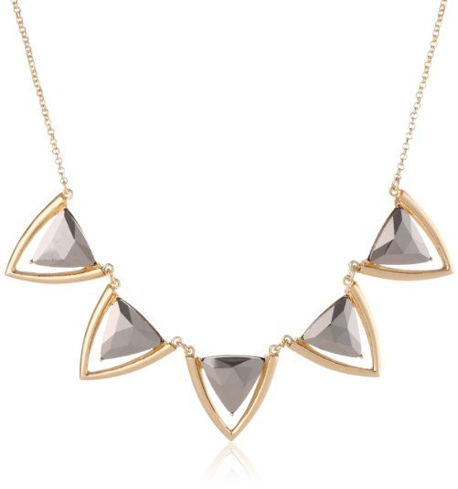 "Kensie ""Ice Ice Baby"" Gold-Plated Triangle Collar Necklace"