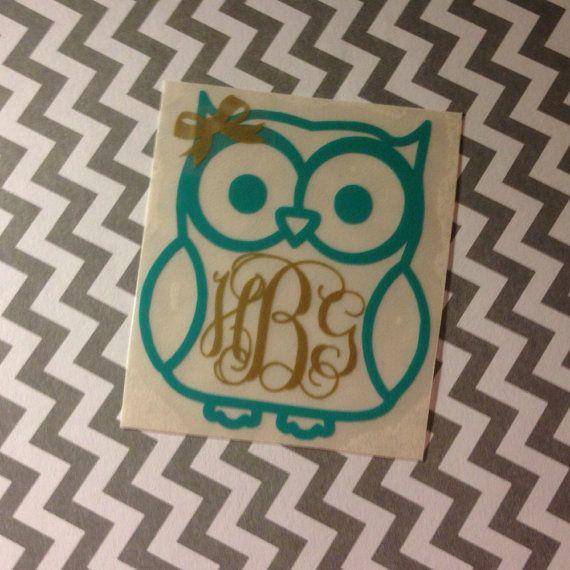Personalized Vinyl Owl Monogram TWO Color Custom Car Laptop Tablet - Owl custom vinyl decals for car