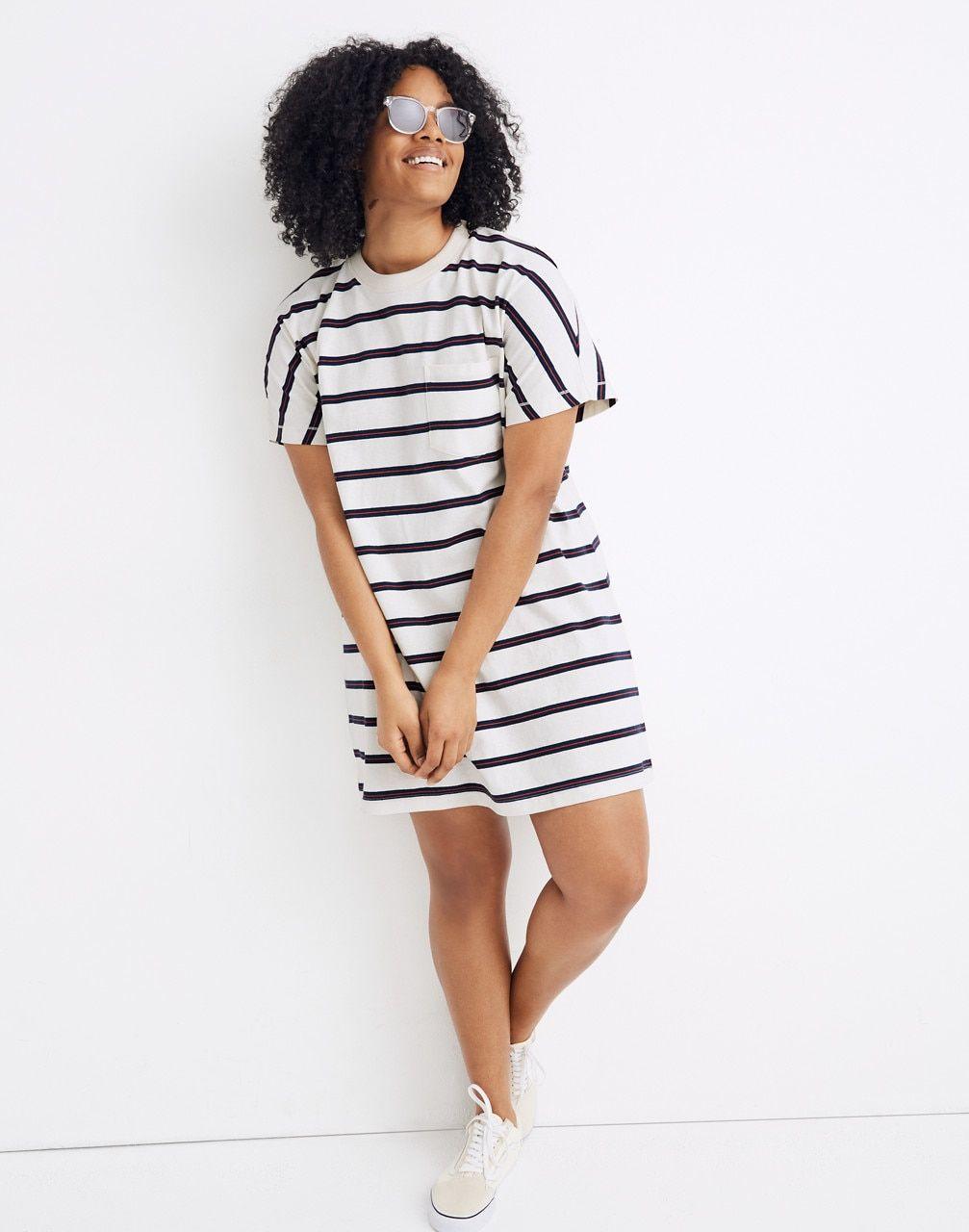 Tomboy Pocket Tee Dress in Stripe