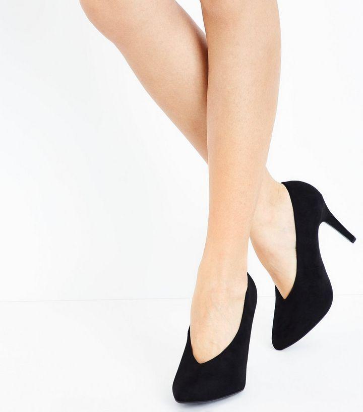 bb28919e1e Wide Fit Black Comfort Flex Stiletto Courts | New Look | Clothes ...