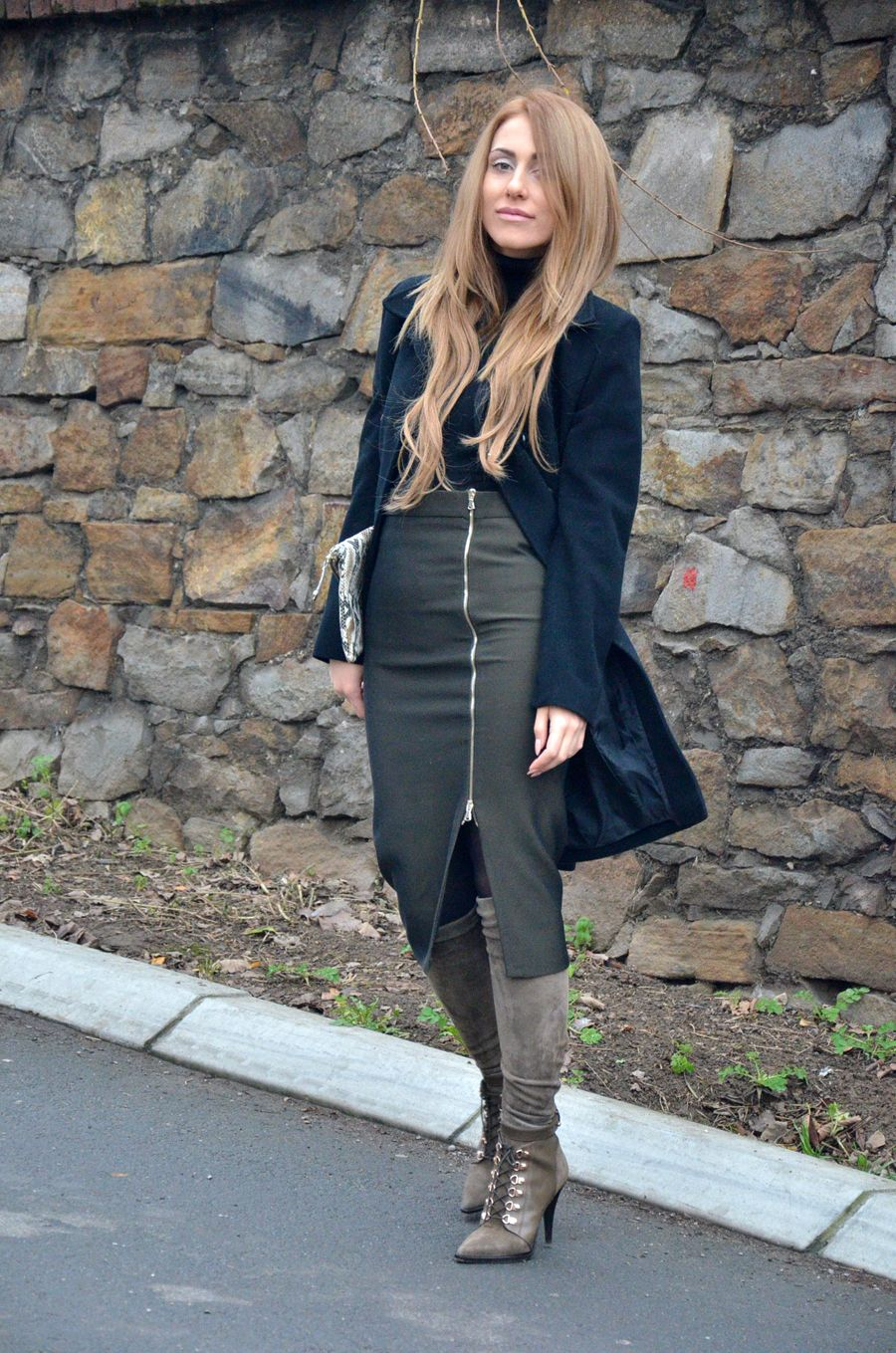 469e5c96f Pencil Skirt, Long Coat and Over the Knee Boots Outfit / Stasha Fashion by  Anastasija Milojevic