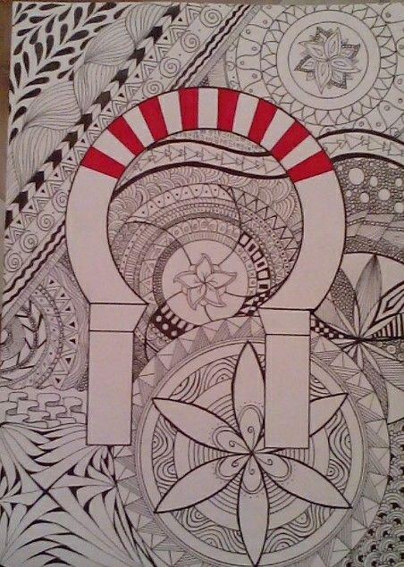 Mi dibujoo. Arco de la Mezquita de Córdoba. Zentangle.