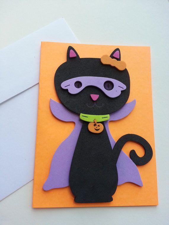 Super Hero Kitty Halloween Card