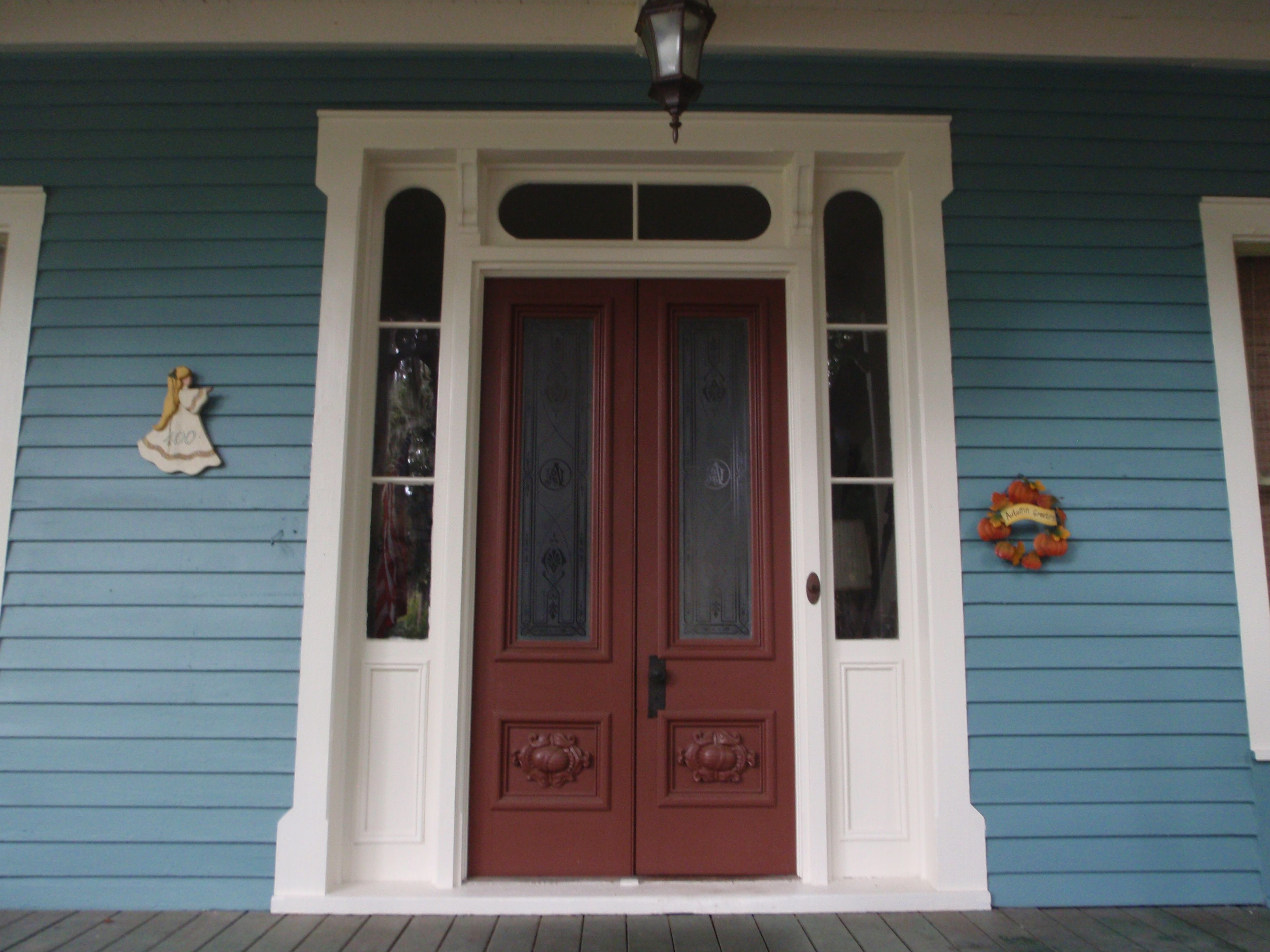 Enchanting white front door trim for double swing half glass brown