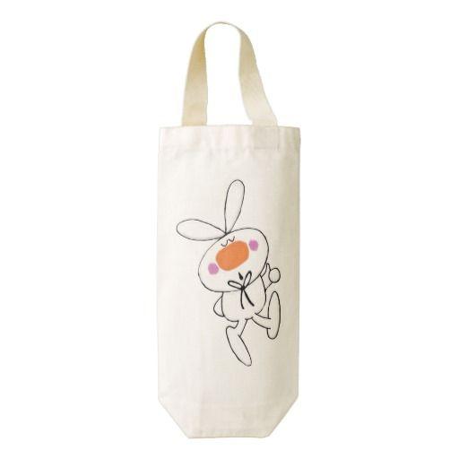 Happy Dancing Cute Cartoon White Rabbit Bunny Zazzle HEART Wine Bag