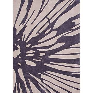 Fusion Coll. Hand-tufted Floral Pattern Polyester Ivory/Purple Splash Area Rug (2 x 3)