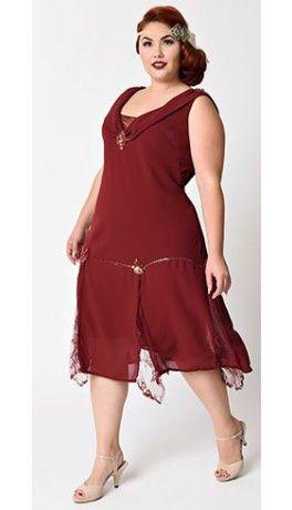 Unique Vintage Plus Size Burgundy Hemingway Flapper Dress Plus Size Flapper Dress Gatsby Dress Plus Size Roaring 20s Dresses