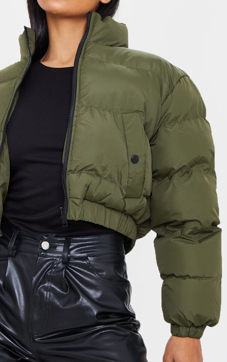 Khaki Cropped Bubble Zip Detail Puffer Jacket In 2021 Jackets Puffer Jackets Bomber Jacket Women [ 1180 x 740 Pixel ]