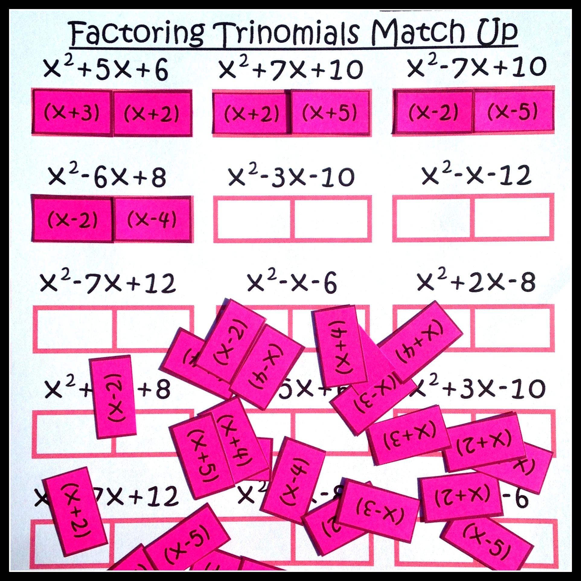 Factoring Polynomials Trinomials Activity Beginner With Images Factoring Trinomials Activity Factoring Polynomials School Algebra