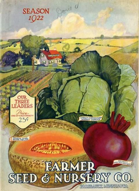 """The 1922 issue of the Farmer Seed & Nursery catalog showcased their """"three leaders.""""  These were the Premium Osage Musk Melon, Early Copenhagen Market Cabbage, and the Detroit Dark Red Prize Beet.  The collection could be had for only 25 cents.  Maybe these specimens were grown on the idyllic farm depicted in the background.  Farmer Seed & Nursery originated in Faribault, MN in 1888; Andersen Horticultural Library has a collection of their vintage catalogs."""