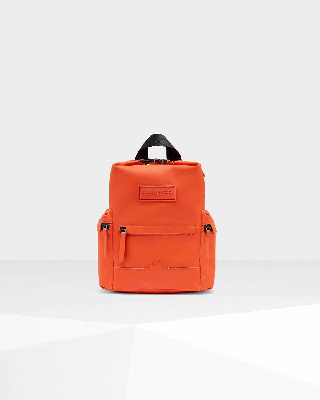 Hunter Original Mini Top Clip Backpack Rubberized Leather Orange Bags Nylon Backpacks