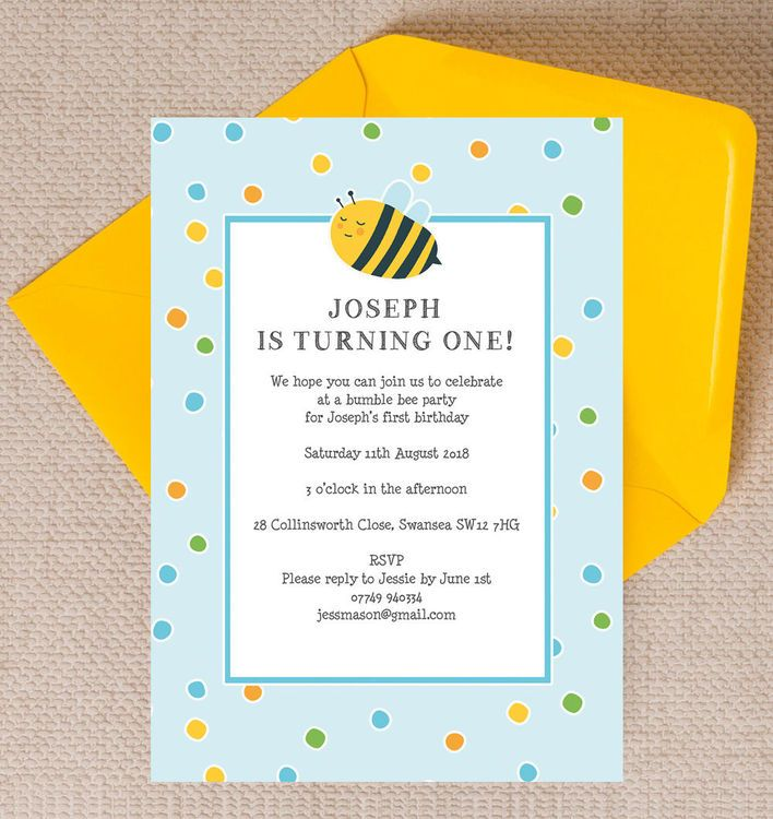 Bumble Bees Personalised Kids Birthday Party Invitation - Blue ...
