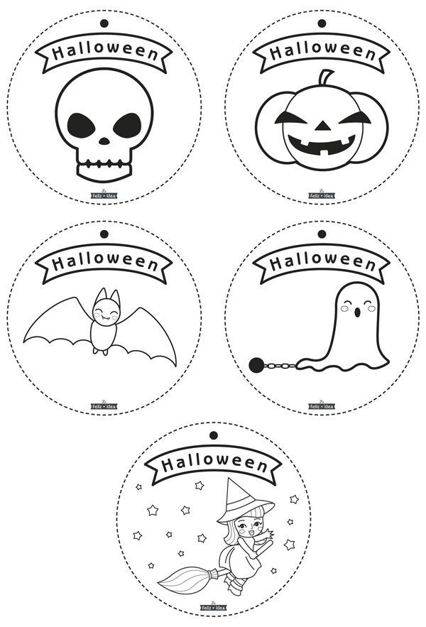 Free printable coloring Halloween garland - Guirnalda de Halloween ...