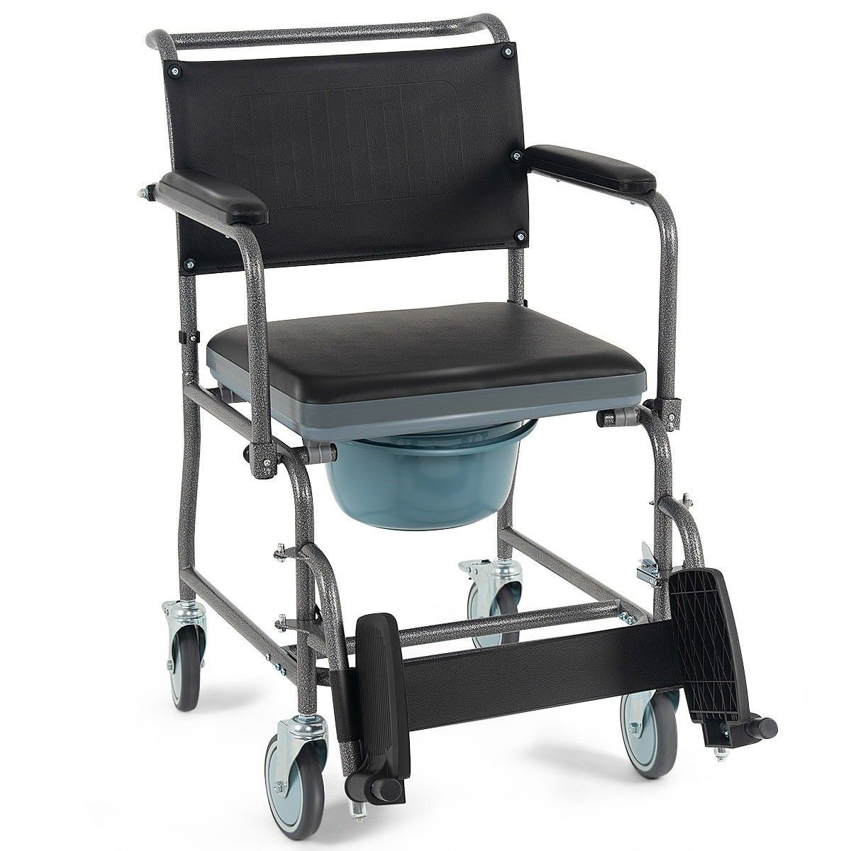 Medical Transport Toilet Commode Wheelchair with Locking