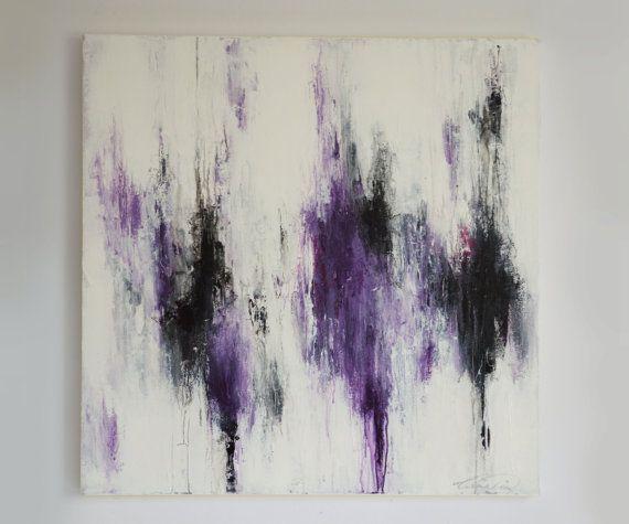 30 X 30 Abstract Purple White Black Gray Pink By Artbycornelia