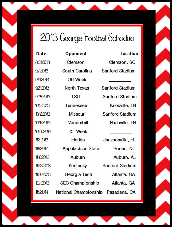 2013 Football Schedule Border creation by Allyssa