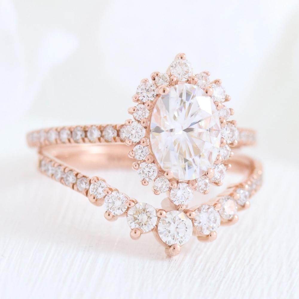 Tiara Halo Pave Bridal Set w/ Oval Moissanite and 7 Stone Diamond Ring