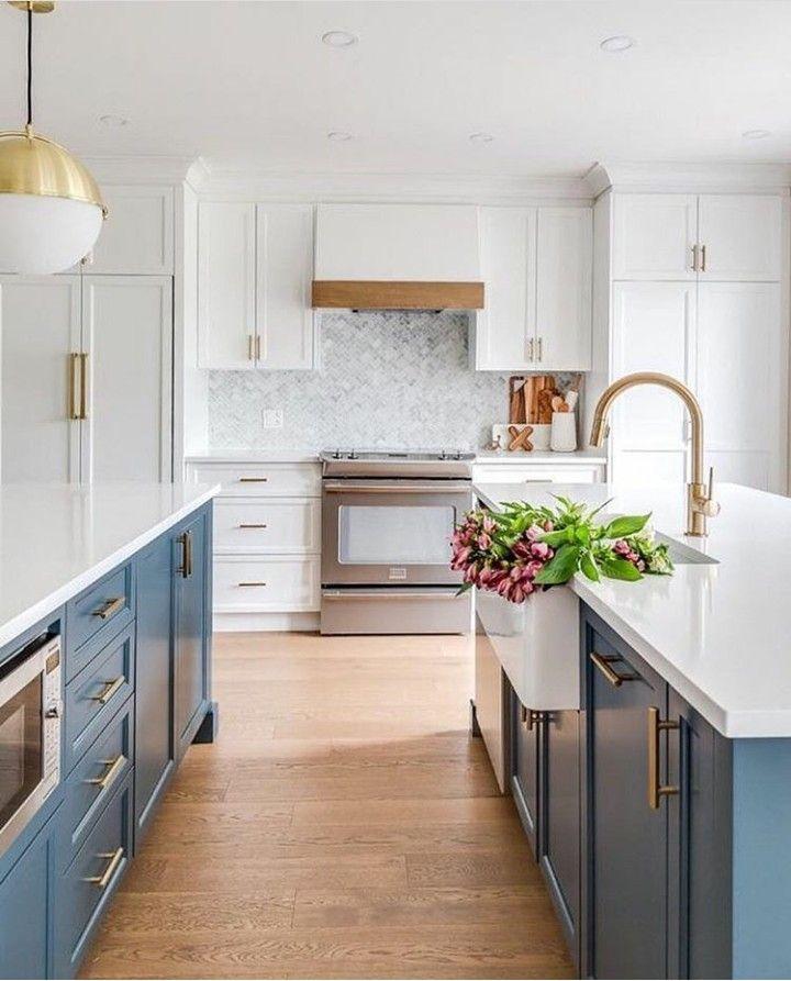 White Kitchen Blue Hood
