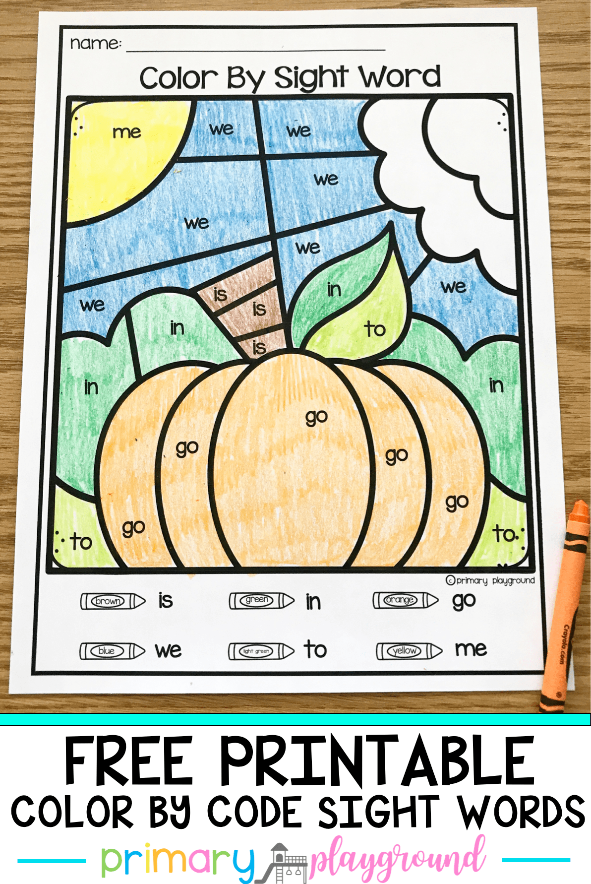 Free Printable Fall Color By Code Sight Words Fallcolors