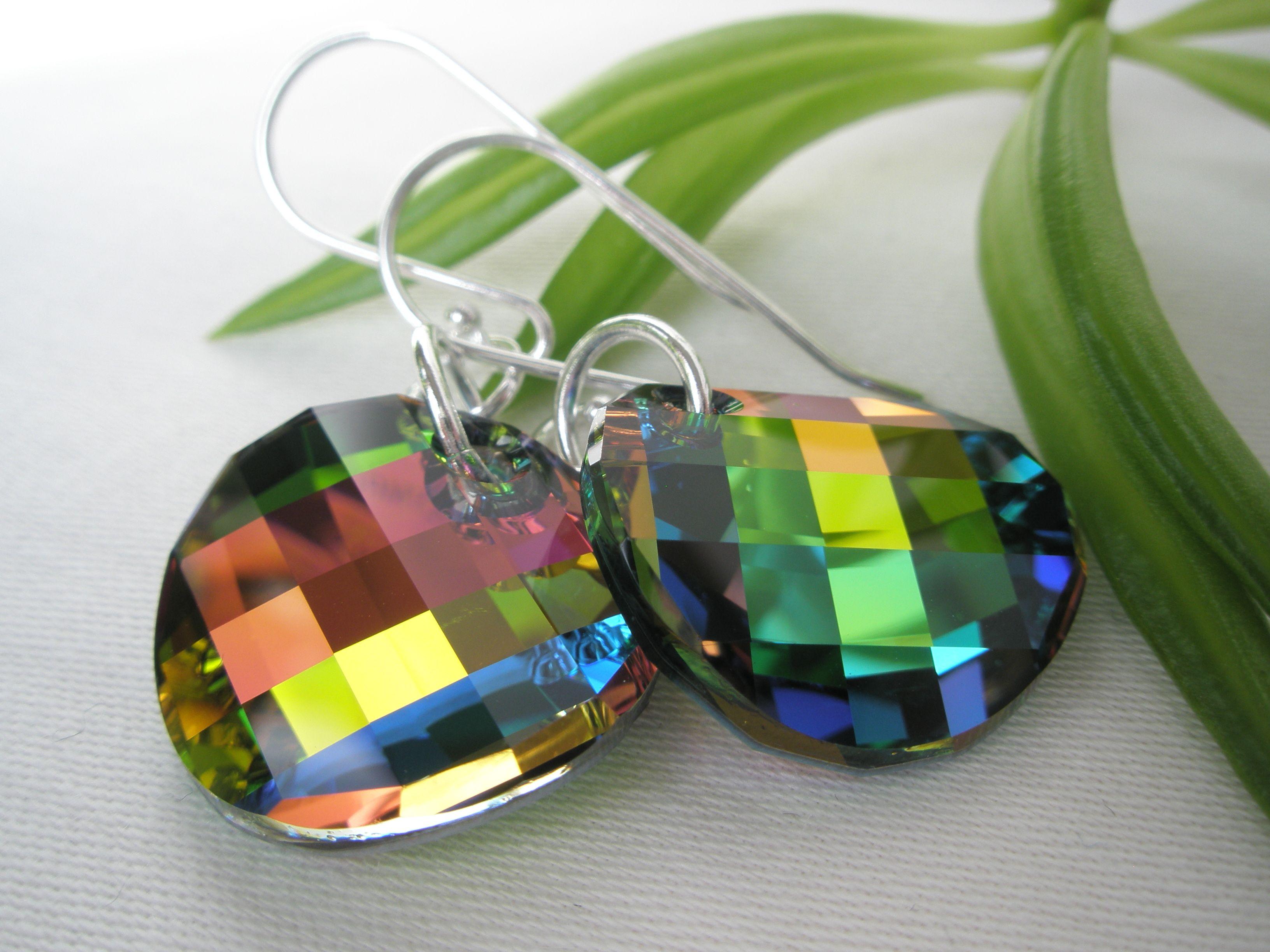 Øredobb i sølv med multifarget krystall