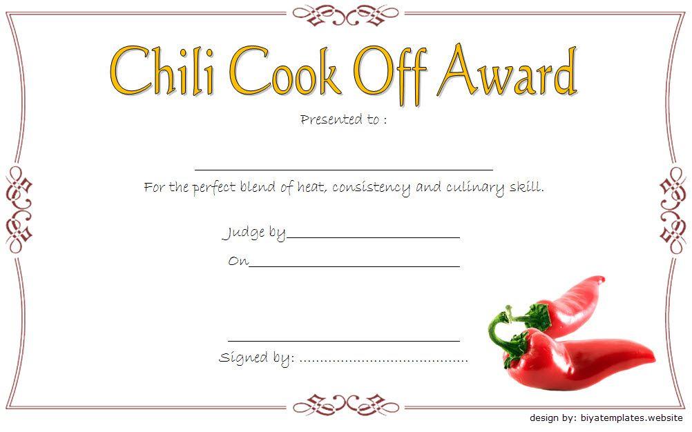 Unique Chili Cook Off Certificate Template In 2021 Certificate Template Awards Certificates Template Chili Cook Off