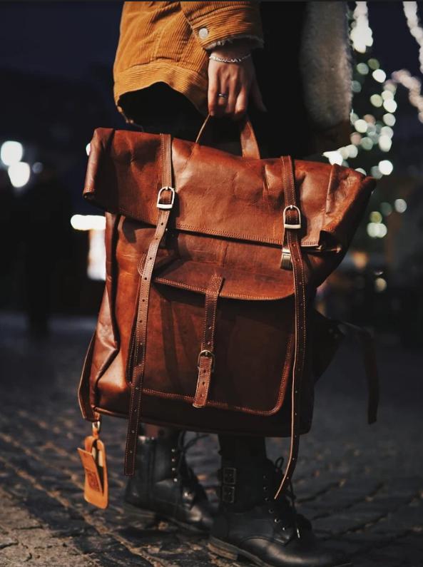 Leather Roll Top Backpack | Desigual taschen, Vans leder und