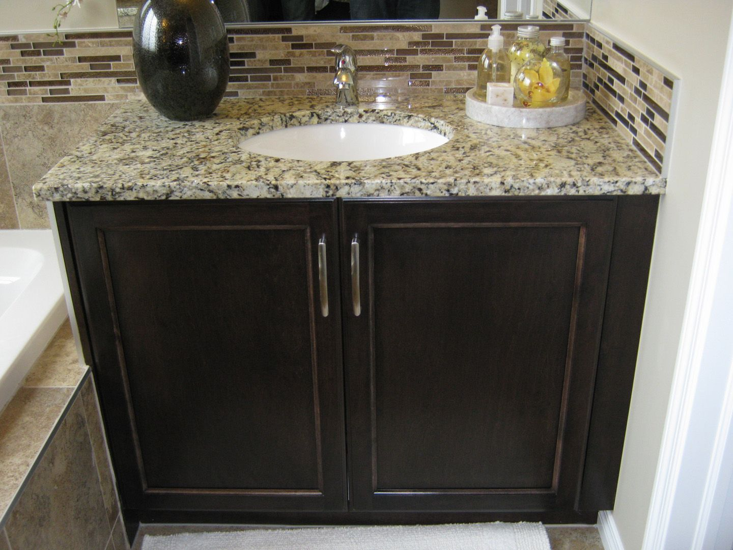 Sleek Venetian Ice Granite Was Used For This Vanity   What Do You Think Of  This