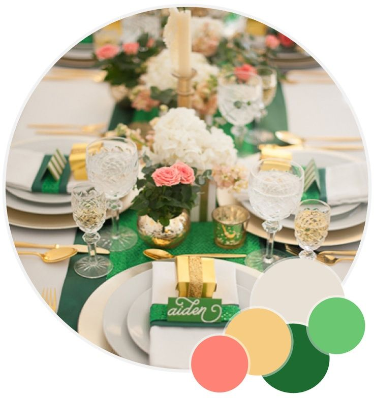 Colour Crush Emerald Green With Pink: Emerald Green, Gold And Strips Wedding