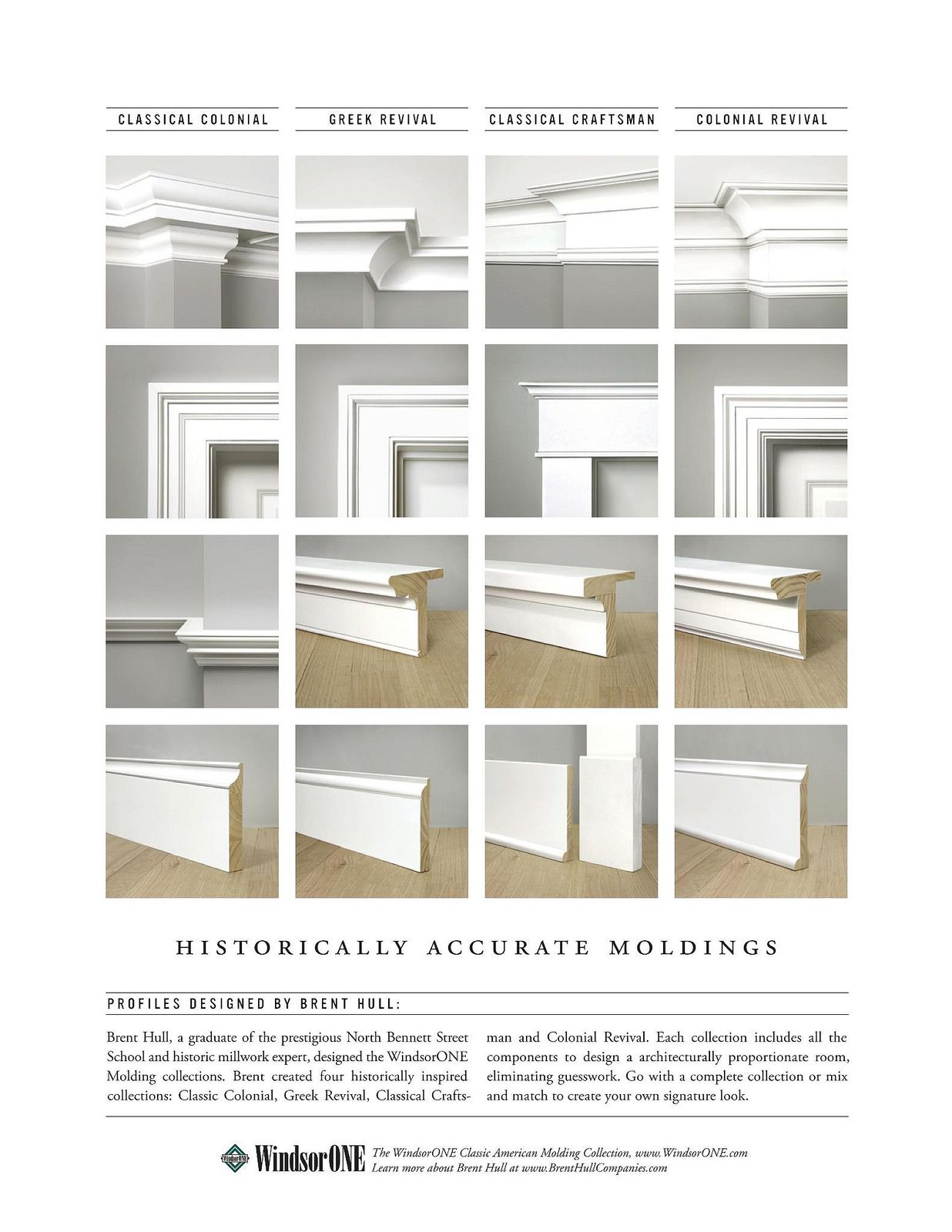 Four historically accurate molding styles compared side by side