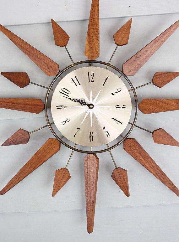 vintage sears roebuck mid century wall clock teak wood on wall clocks battery operated id=29284