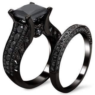 Step Out Of The Ordinary With This Stunning Certified Black Diamond Ring Set Includes A Solitaire Engagement Large 2 Carat UGL