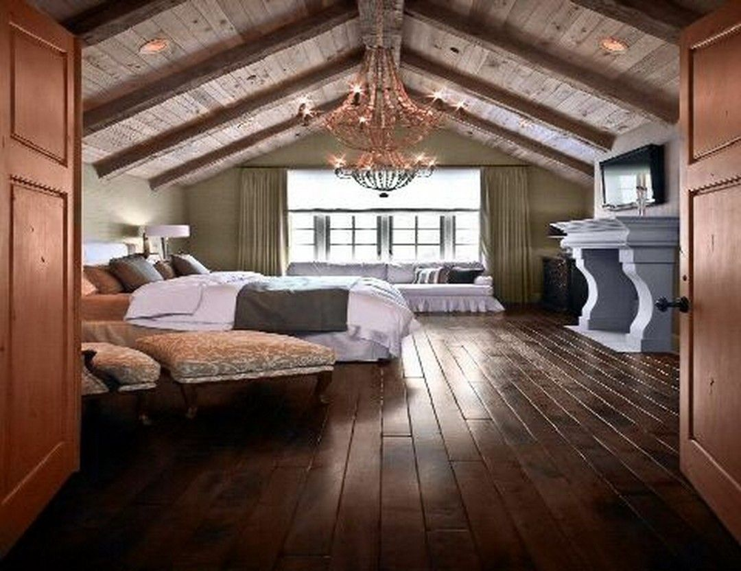 Awesome Attic Master Bedroom With Wood Furniture Https Www Onechitecture Com 2018 01 19 Awesome Attic Master Bed Attic Master Bedroom Home Attic Master Suite