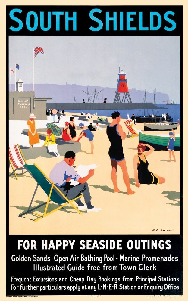Travel vintage seaside summer england A1 canvas print UK whitley bay