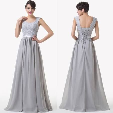 Grace karin 2015 dress for xmas party chiffon grey evening formal bridesmaid wedding ball gown prom dress cl6231