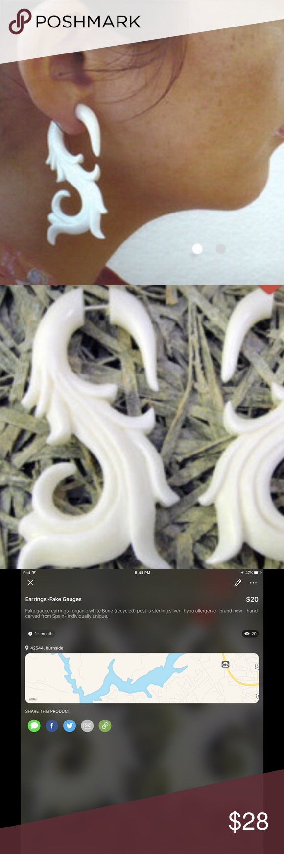 Fake gauge earringsorganic white bone recycled nwt gauges