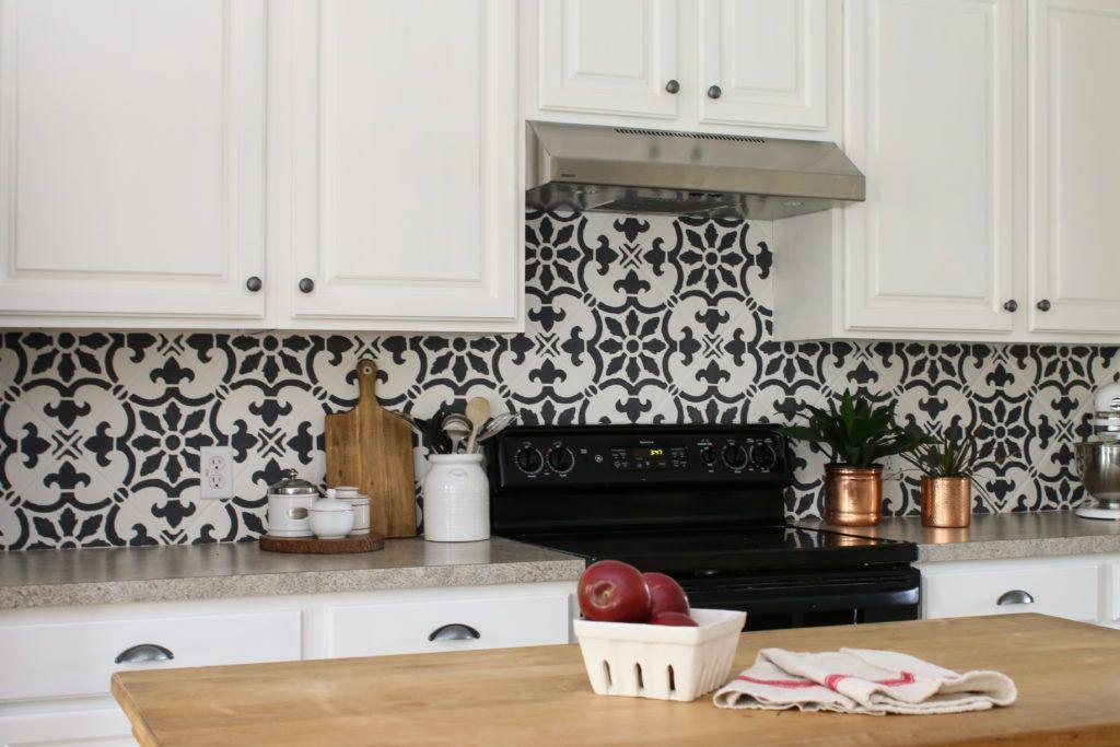 How To Stencil A Kitchen Backsplash Using A Tile Pattern Kitchen