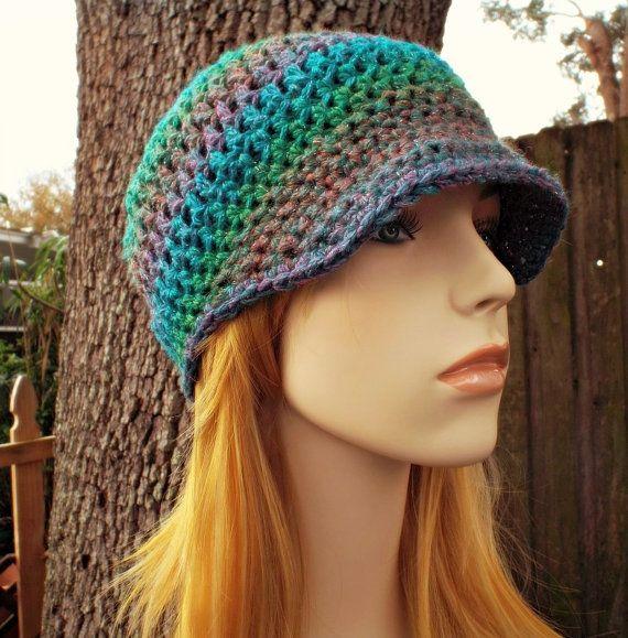 Crochet Hat Blue Womens Hat Blue Newsboy Hat Blue Hat - Skater Boy ...