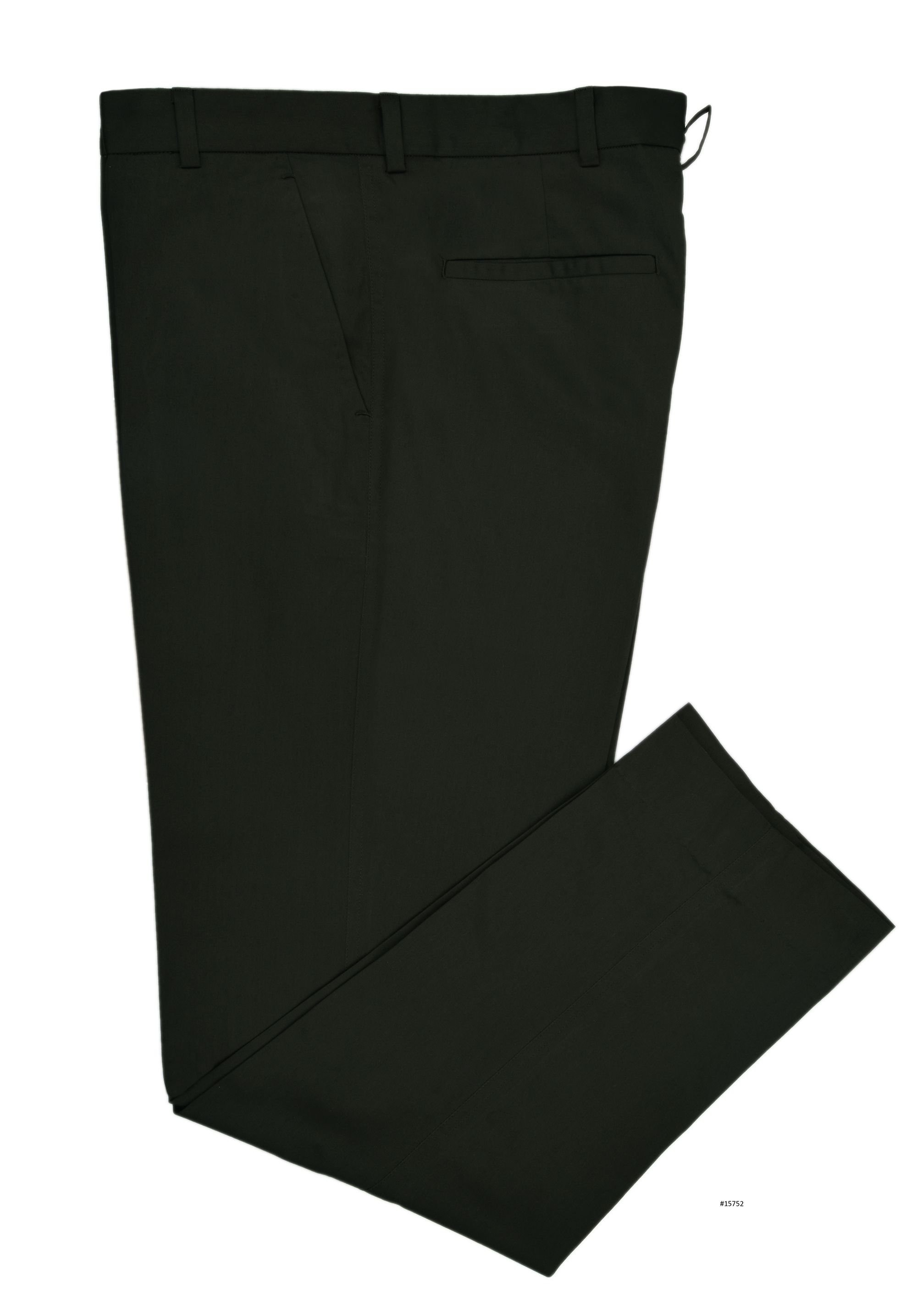 Luxire pants constructed in Graphite Green Soft Cotton: http://custom.luxire.com/products/graphile_green_soft_cotton_chinos  Consists of standard extended closure with front slant pockets and 2 rear pockets.