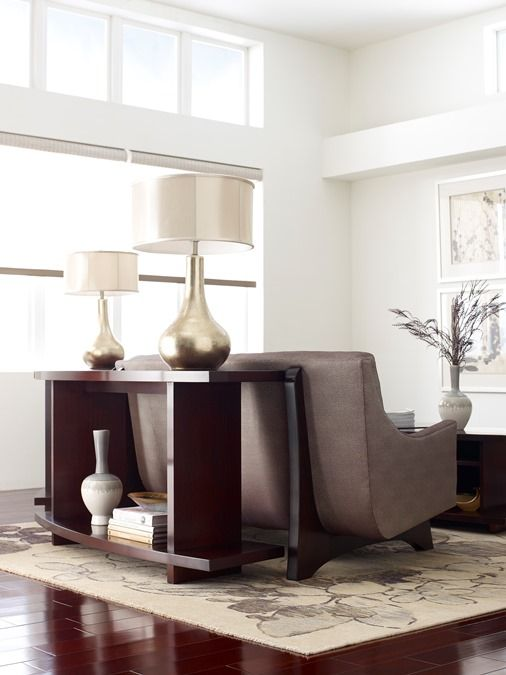 Stickley High Line Curved Sofa With Table Along Back Sofatable